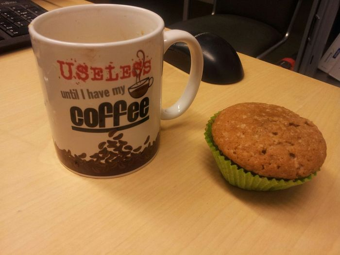Good morning first thing..... A cup of coffee with homemade cinnamoncake. Have a great weekend. @work Goodmorning