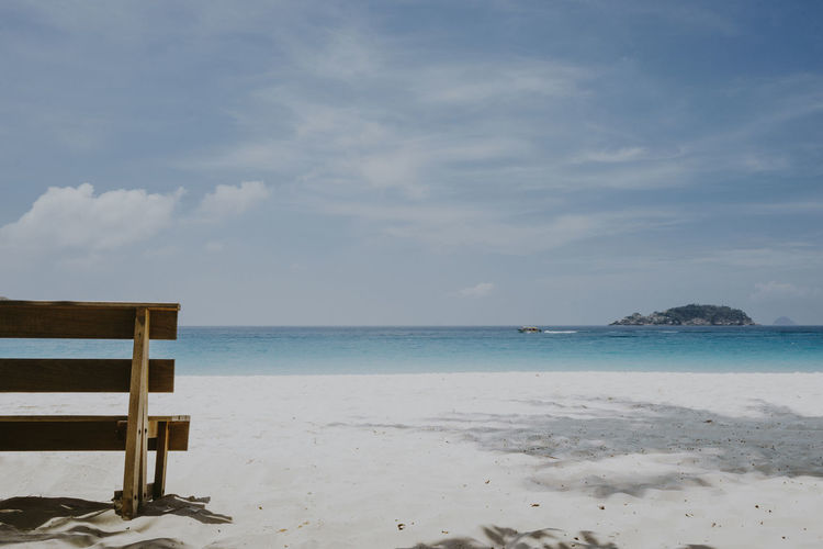 Copy space of view nature landscape at Pulau Redang, terengganu Sea Beach Land Sky Water Tranquility Beauty In Nature Tranquil Scene Sand Nature Scenics - Nature Horizon Cloud - Sky Horizon Over Water Relaxation No People Outdoors Idyllic Day Island Copy Space Seascape Nature Brench Sitting