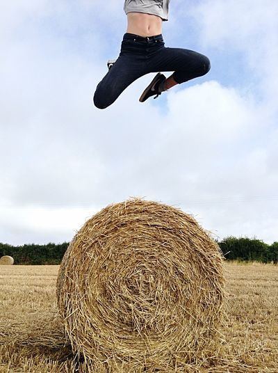 Leaping into Autumn Everyday Joy Shootermag EyeEm Gallery Outside Photography Cornwall Life Outdoor Photography Haybales  Hay Harvest Leap Youth Joy Wheat Field Daughter Flying High in Country Life in Falmouth Cornwall United Kingdom Nike