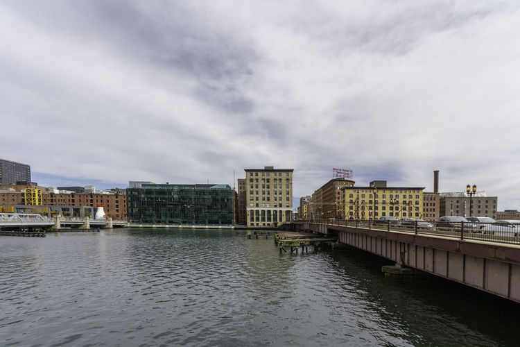 Boston Massachusetts Seaport District Seaport New England  Architecture Built Structure Building Exterior Water Sky Cloud - Sky City River Building Waterfront No People Day Outdoors Bridge Fort Point Channel Fort Point Overcast Cityscape