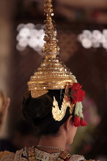Rear View Of Traditional Thai Dancer