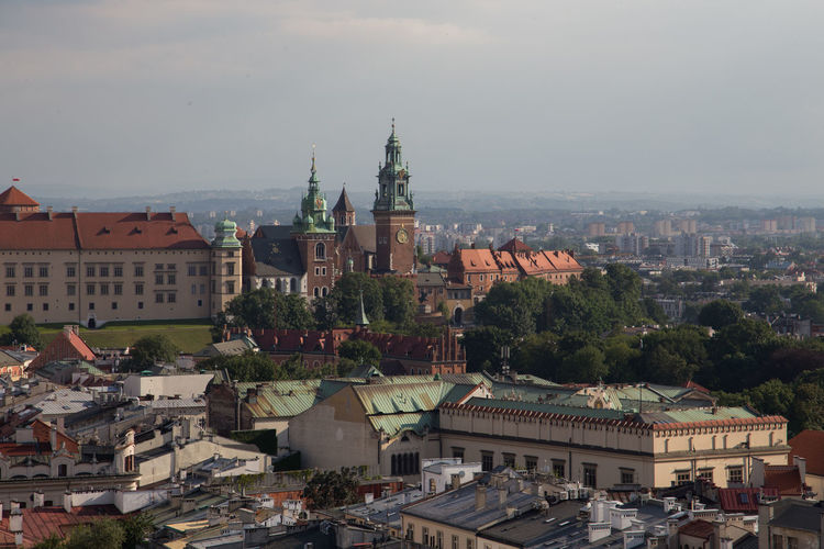 Crakow Eastern Europe Poland Architecture Building Exterior Built Structure City Cityscape Crowded Day Dome High Angle View Krakow Outdoors Place Of Worship Religion Residential Building Roof Sky Spirituality Travel Destinations