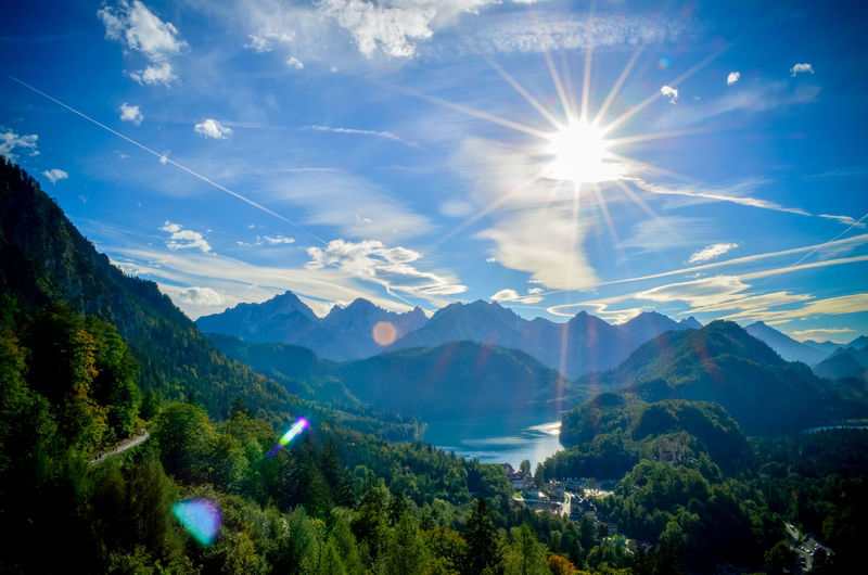 Beauty In Nature Bright Cloud - Sky Environment Idyllic Landscape Lens Flare Mountain Mountain Peak Mountain Range Nature No People Non-urban Scene Plant Scenics - Nature Sky Solar Flare Sun Sunbeam Sunlight Tranquil Scene Tranquility Tree