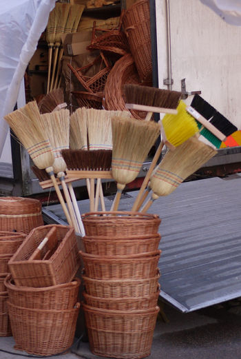 Baskets Broom Broomstick Collection Large Group Of Objects Lorry Man Made Object Twisted Baskets