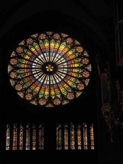 church Architecture Architecture And Art Belief Building Built Structure Ceiling Circle Dark Design Floral Pattern Glass Glass - Material Indoors  Low Angle View Multi Colored No People Ornate Pattern Place Of Worship Religion Spirituality Stained Glass Window