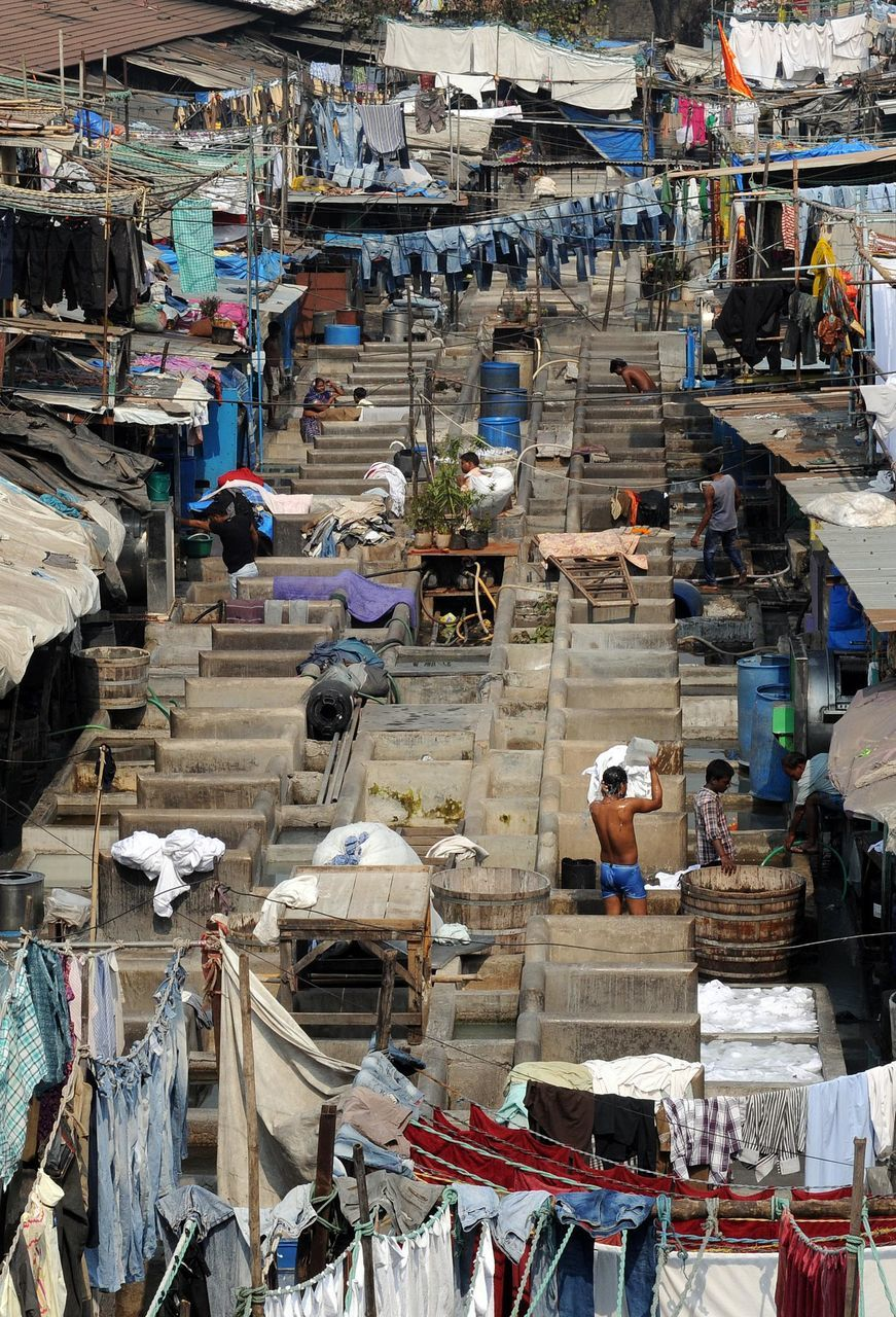 High Angle View Of Clothes Hanging By People At Mahalaxmi Dhobi Ghat