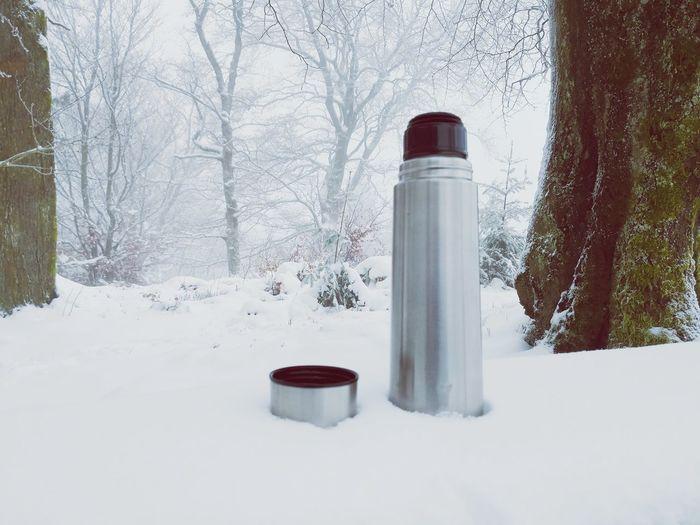 Tea time. Outdooradventures Saarhunsrücksteig Break Drink Hot Drink Hiking EyeEm Selects Cold Temperature Snow Winter No People Day Outdoors