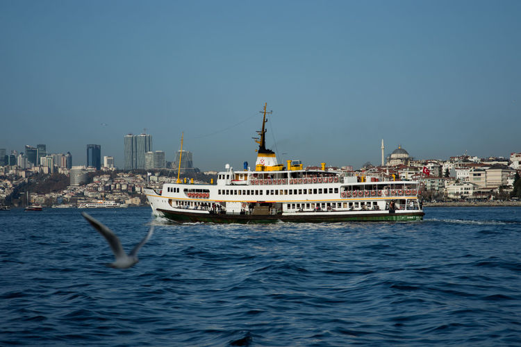 Istanbul Bosphorus Istanbul - Bosphorus Sea Motion Water Sky Day Seagull Spread Wings Mid-air Bird Flying Nature Istanbul Turkey City Life Outdoors Cityscape Nautical Vessel No People Architecture Building Exterior Skyscraper Urban Skyline Be. Ready.