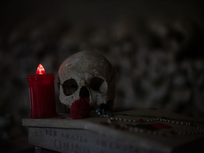 Close-up Human Skull Human Skeleton Human Bone Bone  Indoors  Red Selective Focus Skeleton Candle Still Life People Burning Focus On Foreground Skull Table Fire
