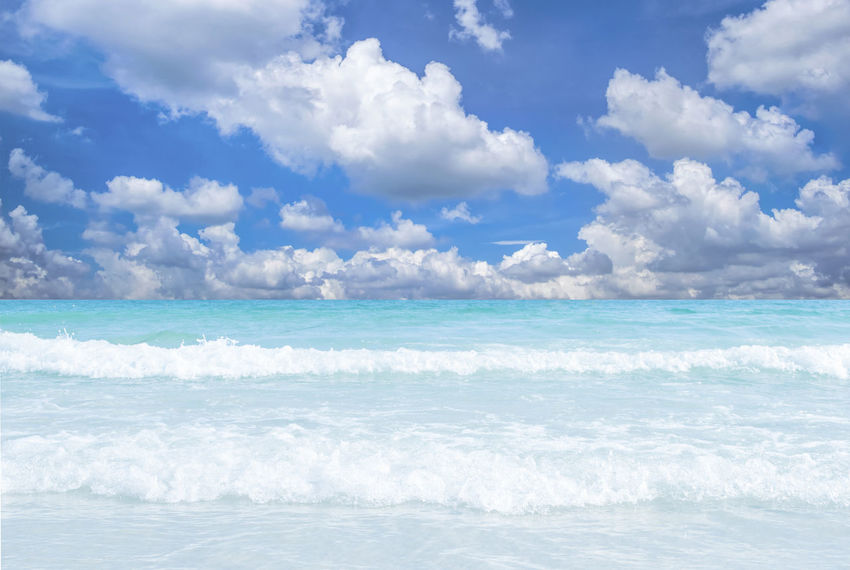 Sea wave blue sky at Samet Island, Thailand. Clear Sky Green Samet Island@Thailand Beach Beauty In Nature Blue Blue Sky Cloud - Sky Day Horizon Horizon Over Water Motion Nature No People Outdoors Sea Sky Tranquil Scene Tropical Climate Turquoise Colored Water Waterfront Wave