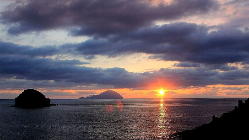 Sea Sunset Cloud - Sky Travel Outdoors Sky Tranquility Sun Nature No People Landscape Beauty Beauty In Nature Dramatic Sky Ocean Sunset  Night Aeolianislands Il Postino Massimo Troisi Pollara Salina Island EyeEmNewHere