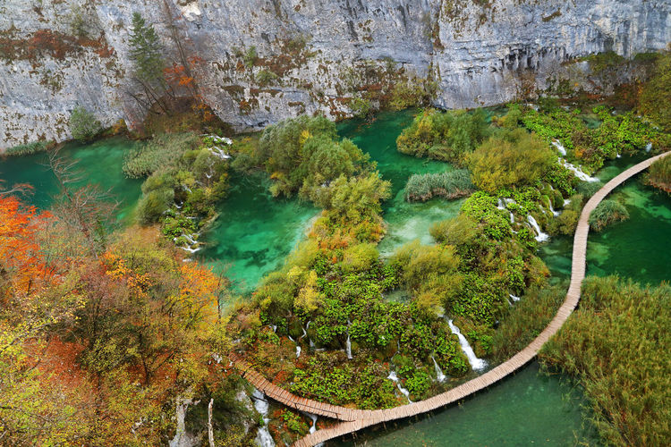 High angle view of cave in water