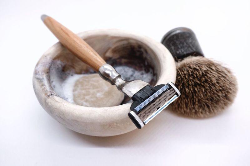Shaving equipment Beauty Care Beard Menstyle Mens World Soap Razor Shaving Tools Shaving Brush Shaving White Background No People Beauty Product Close-up Indoors