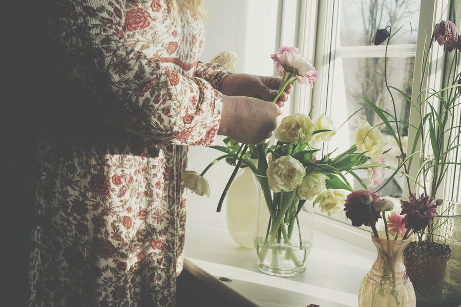 Making a bouquet of Spring flowers Bouquet Bouquet Of Flowers Dress Flower Flowers Hands Ranunculus Romantic Spring Spring Flowers Spring Has Arrived Springtime Tulip Tulips Unrecognizable Person Window Windowsill Woman Working Hands Place Of Heart