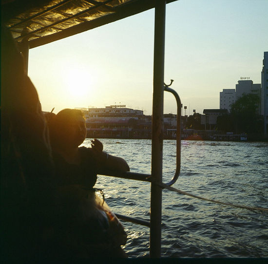 Boat on the river Againts The Su Bang ่Chao Phraya River Chill Evening Cro On The Boardwalk On The Boat Thailand Spotted In Thailand
