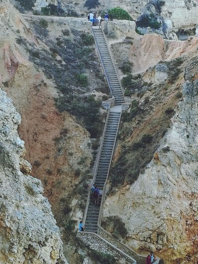High Angle View Scenics Outdoors Beauty In Nature Rock Formation Stairs On The Rock Dificult Stairs Go Higher