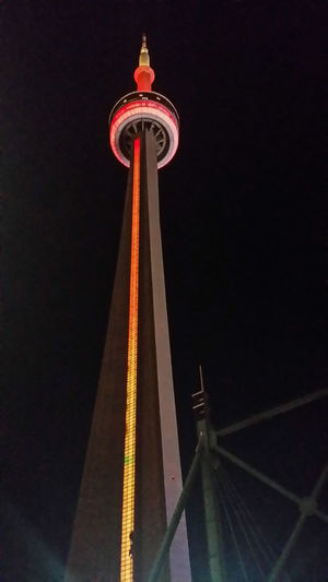 CN Tower Elevator Lights Tourist Broadcast Building Exterior Evening Height Lit Night No People Tallest Tourism Upwards Structures And Architecture