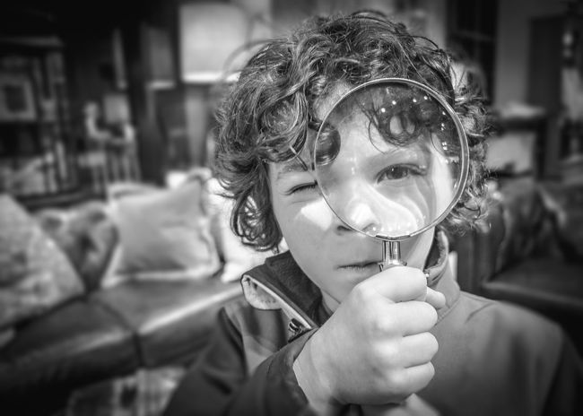 Looking for the Answer Answers Black And White Child Closer Look Clue Discover  Eye Find Hide And Seek Investigation Investigator Kid Look M Magnifier Magnifing Magnifying Glass Mystery Private Eyes Search Spy Through The Looking Glass Truth