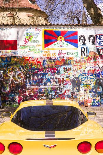 Graffiti on carousel in city