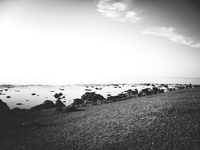 Ocean Landscape Sweden Blackandwhite