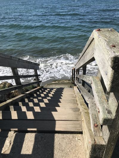 Water Sunlight Shadow Nature Sea Beach Summer Exploratorium Day Railing High Angle View The Way Forward No People Tranquility Beauty In Nature Staircase Direction Outdoors The Great Outdoors - 2018 EyeEm Awards Summer Road Tripping