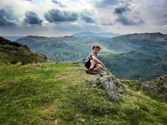Helm Crag Cresmere Mountain Mountains Hill Hills Summit View From Above Landscape Sky Clouds