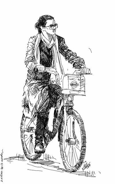Art Drawing Cyclist Kaay