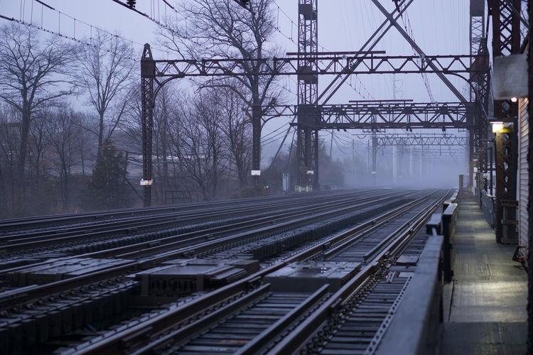 Railway tracks along bare trees