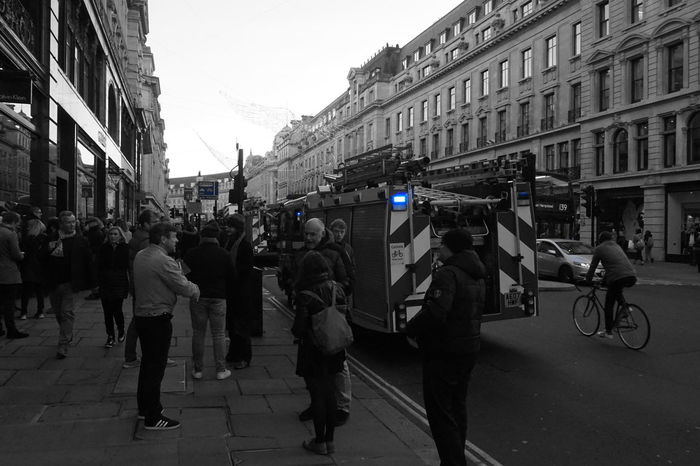 8221 Adult Architecture Black & White Black And White Black And White Photography Black&white Blackandwhite Blackandwhite Photography Blue Light Building Exterior Built Structure Busy People Busy Street City City Gate Day Fire Engine Fire Engines London Outdoors People Regent Street London Street Vehicle The Photojournalist - 2017 EyeEm Awards EyeEm LOST IN London