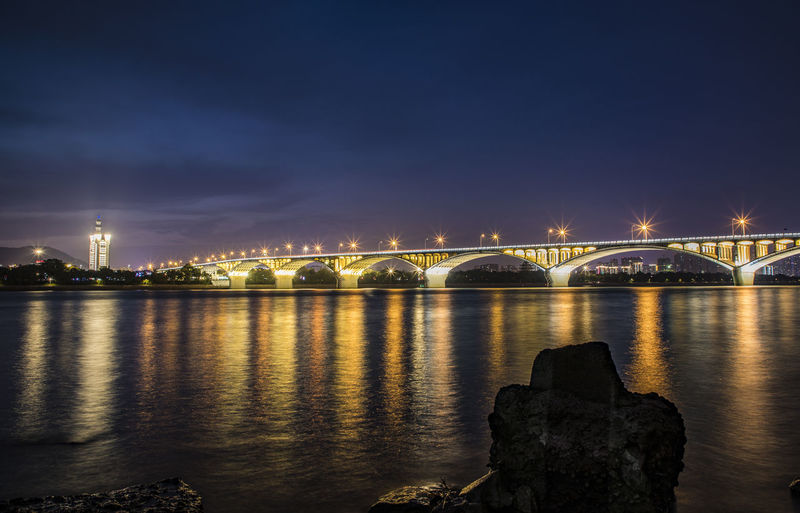 bridge under the night Arch Architecture Bridge - Man Made Structure Building Exterior Built Structure City Cityscape Connection Illuminated Long Exposure Night No People Outdoors Reflection River Sky Travel Destinations Urban Skyline Water