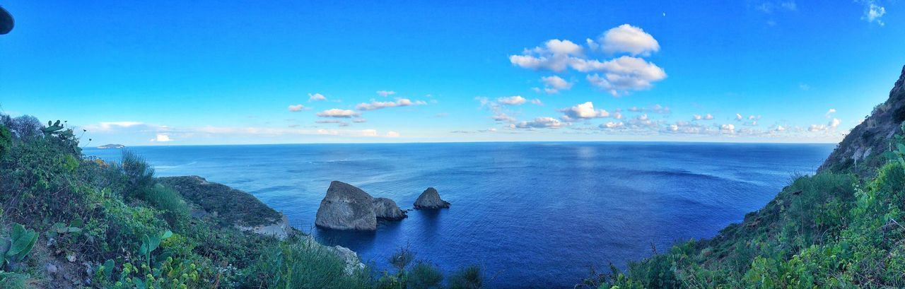 Sea Water Horizon Over Water Blue Sky Scenics Tranquil Scene Panoramic Tranquility Beauty In Nature Rock - Object Cloud - Sky Non-urban Scene Cliff Nature Rock Formation Remote Day Outdoors Seascape Ponza Calm Beauty In Nature Nature Panorama