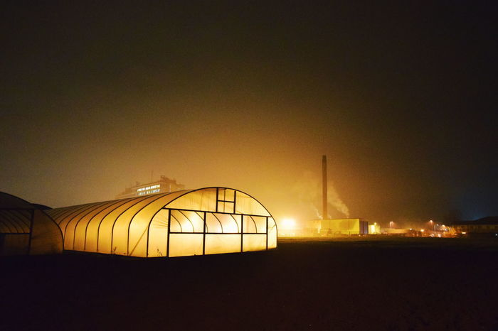 Bladerunner aesthetic. Contemporaryphotography Contemporary Photography Polytunnels Polytunnel Backlit Subject Backlit Agriculture Farm Nightphotography Night Photography Nightscape Night Lights Night Shot Bladerunner Bladerunnerinspired Illuminated