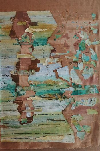 Abandoned Backgrounds Bad Condition Brick Built Structure Damaged Decline Deterioration Full Frame No People Old Paint Pattern Peeled Peeling Off Ruined Run-down Textured  Turquoise Colored Wall Wall - Building Feature Weathered Wood - Material