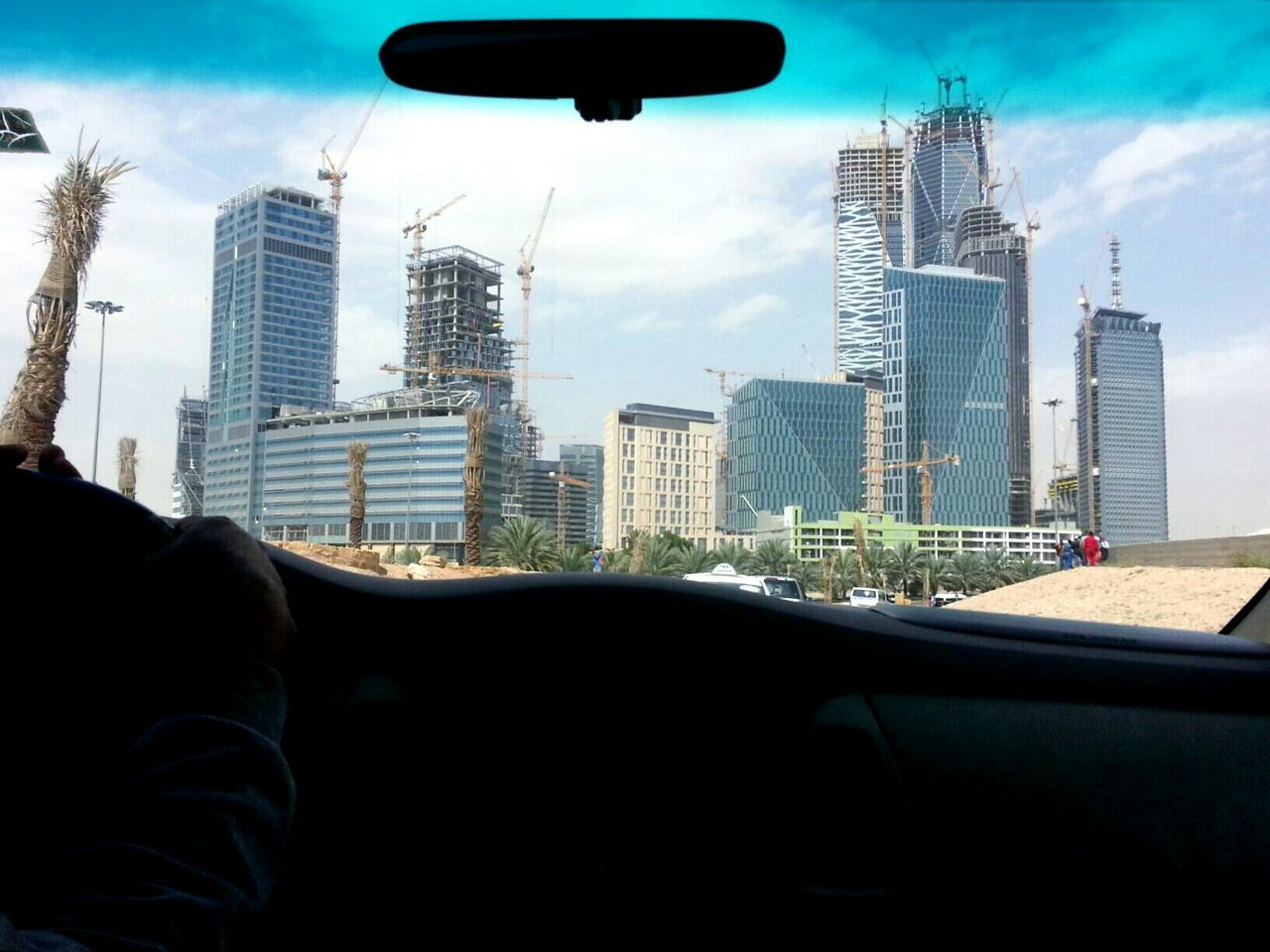 Skyscrapers Viewed Through Car Point Of View