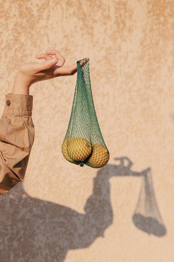 Cropped hand of woman holding fruits in bag against wall