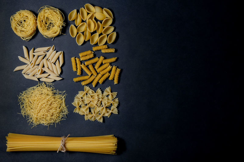 High angle view of food against black background