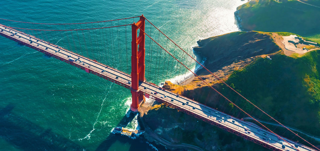 High angle view of golden gate bridge over sea