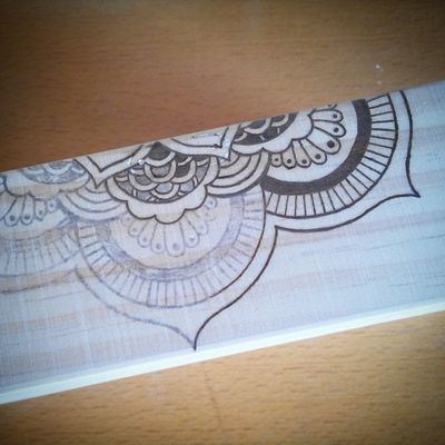 Mandala Box, the first couple of hours' work. This is where we left off and went to bed last night. Mandala Woodburning Box Artisignis WIP