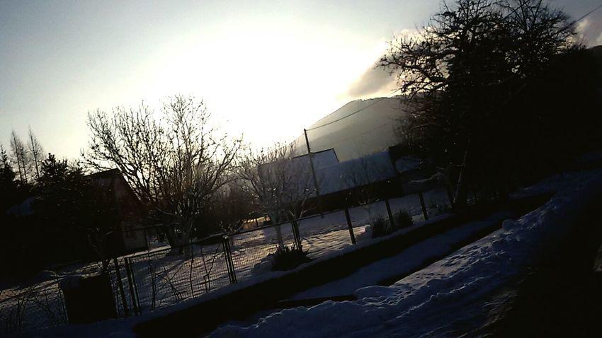 Hills Winter Tree House Sunrise