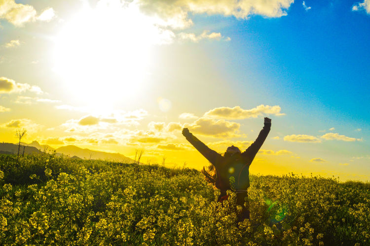 Agriculture Beauty In Nature Break The Mold Cloud - Sky Day Field Growth Landscape Lens Flare Nature One Person Outdoors Plant Scenics Sky Sun Sunlight Sunset Tranquil Scene Yellow BYOPaper! The Portraitist - 2017 EyeEm Awards Love Is Love