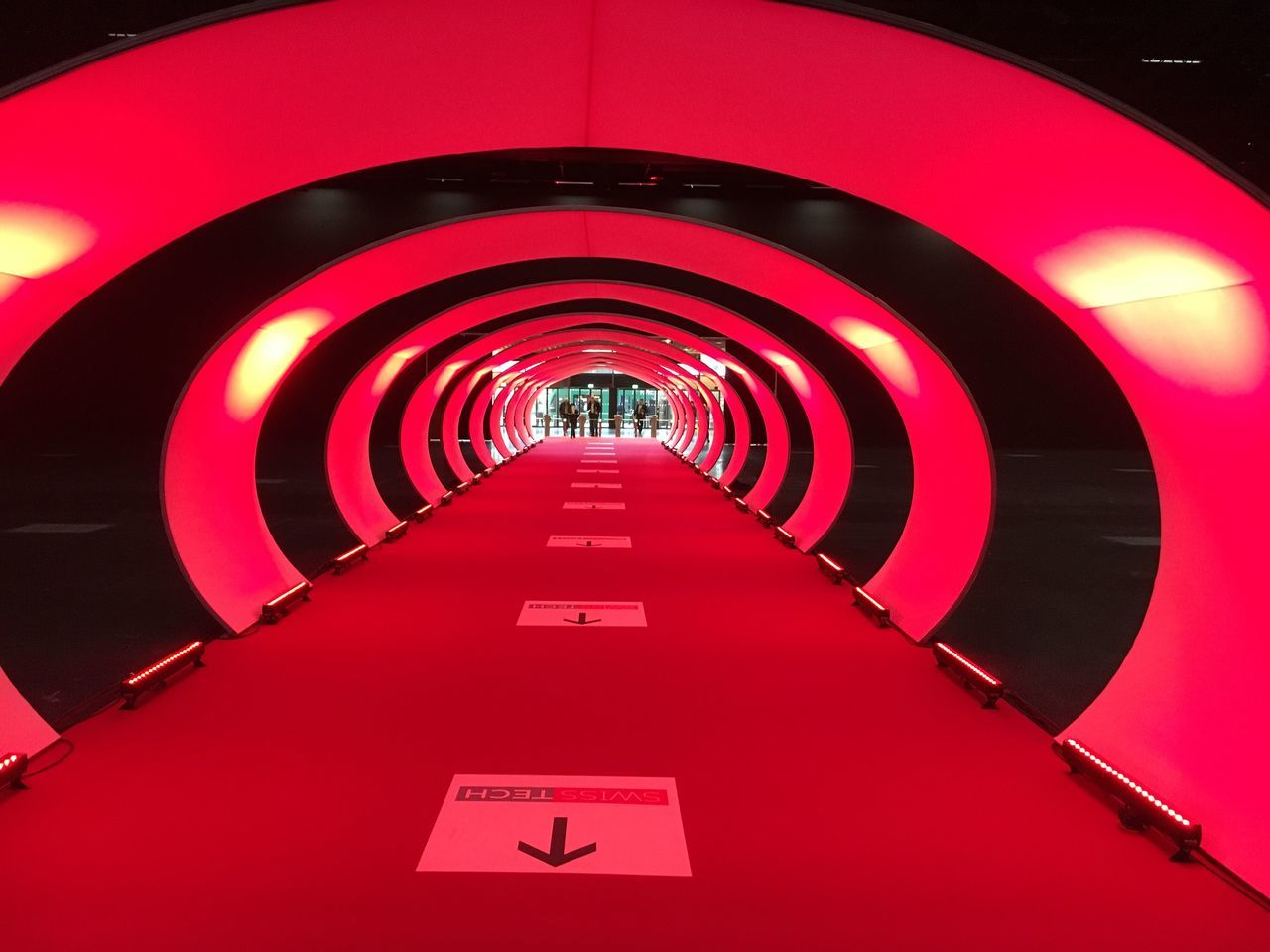 the way forward, red, architecture, indoors, illuminated, built structure, modern, no people, day