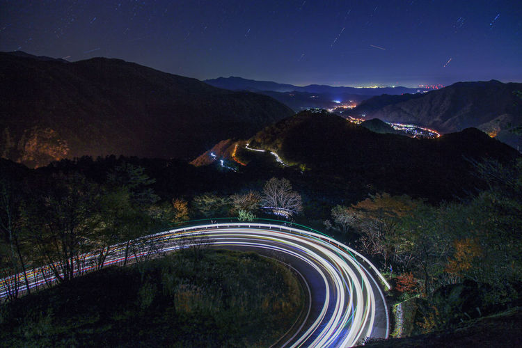 landscape japan tochigi Astronomy Beauty In Nature Curve High Angle View Illuminated Light Trail Long Exposure Motion Mountain Mountain Range Mountain Road Nature Night No People Outdoors Plant Road Scenics - Nature Sky Tranquil Scene Tranquility Transportation Tree