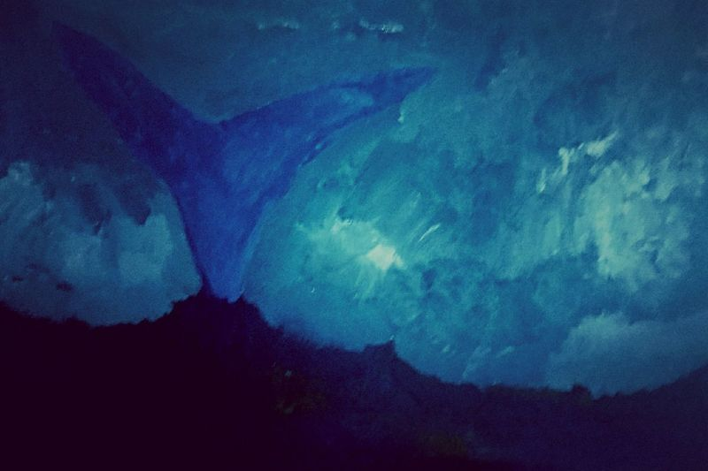 Water Whale Whale Tail Art Oil Painting Painting Blue