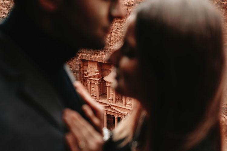 Portrait of couple kissing