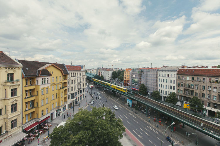 view of Eberswalderstr. in Prenzlauer berg, Berlin, Germany Architecture City Cloud - Sky Built Structure Transportation Building Exterior Road High Angle View Mode Of Transportation Motor Vehicle Cityscape Outdoors Car Street Day Sky Ubahn Metro Metro Station Eberswalder Str. Prenzlauer Berg
