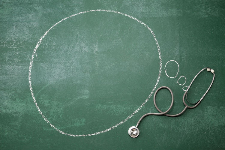 stethoscope with speech bubble Copy Space Medical Equipment Thinking Blackboard  Blank Board Bubble Chalkboard Check Up Communication Concept Drawing Education Empty Heart Beat Ideas Information Medical Message No People Speak Speech Bubble Stethoscope  Thoughtful Treatment