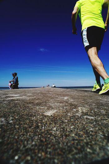 Sportsman Sea Men Sports Clothing Beach Athlete Sport Blue Healthy Lifestyle Sand Marathon Jogging Running