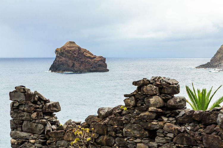 Islet Madeira Island Palm Tree São Jorge Clouds Day Landscape Ruins Architecture Sea
