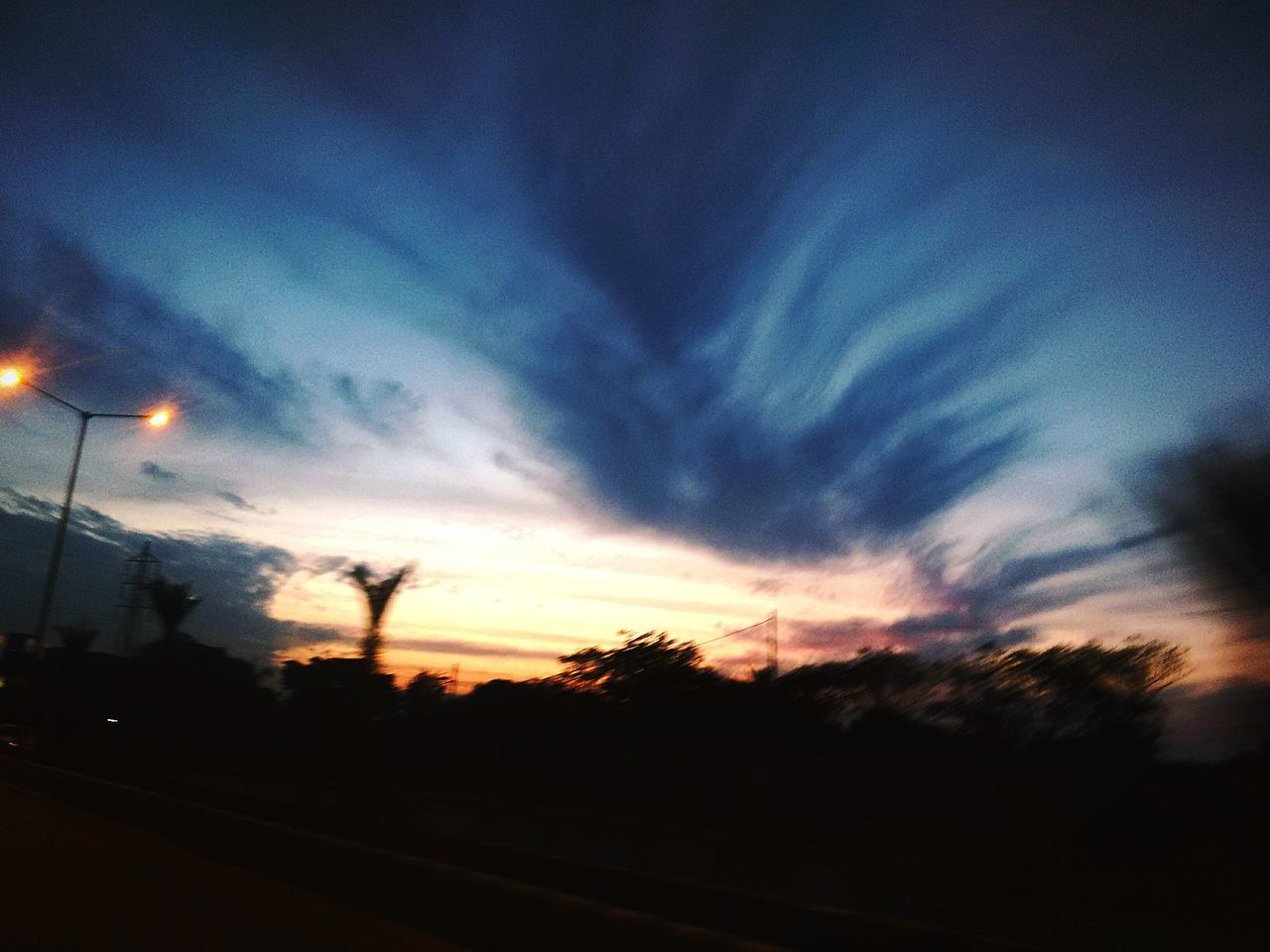sunset, silhouette, sky, transportation, cloud - sky, scenics, nature, no people, beauty in nature, outdoors, tree, day
