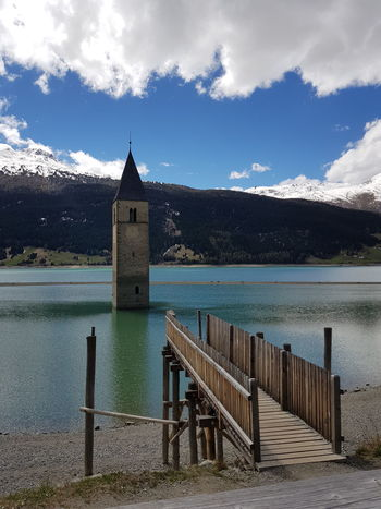 Paso Di Resia Reschensee Reschenpass Reschen Graun Kirchturm italy Sky Water Cloud - Sky No People Outdoors History Tranquility Travel Destinations Lake Day Beach Architecture Building Exterior